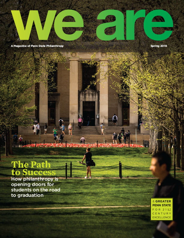 We Are magazine cover with students walking outside the library.