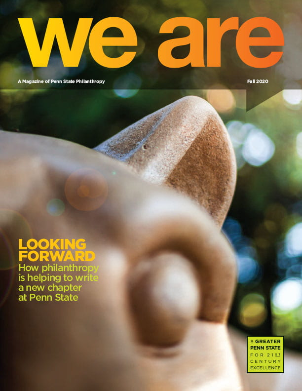 We Are magazine cover with image of Nittany Lion Shrine in morning sunlight.